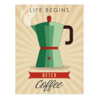 Postal La vida comienza después de café
