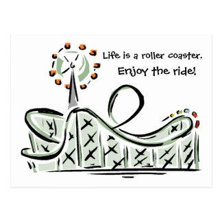 Postal La vida es una montaña rusa. ¡Disfrute del paseo!