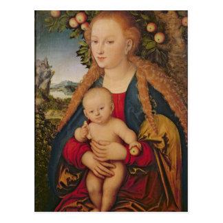 Postal La Virgen y el niño debajo de un manzano