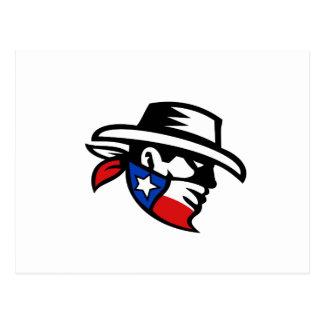 Postal Lado del vaquero del bandido de Tejas retro