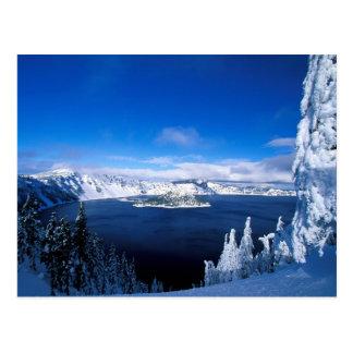 Postal Lago crater en el invierno Oregon