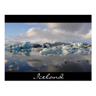 Postal Lago del glaciar de Jokulsarlon en Islandia