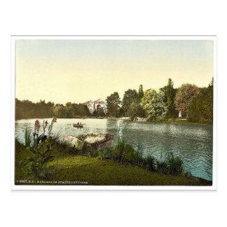 Postal Lago en el jardín público, Karlsruhe, Baden,