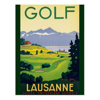 Postal Lago Suiza city de Lausanne del golf del vintage