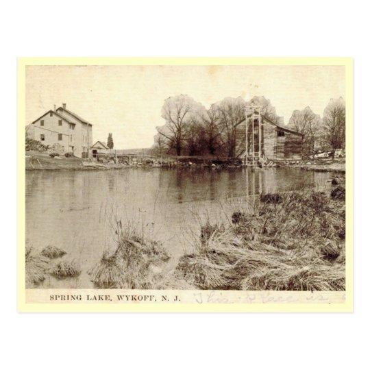 Postal Lago y casa del hielo, Wyckoff, vintage de New