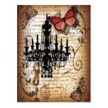 Postal lámpara del vintage de París de la mariposa del