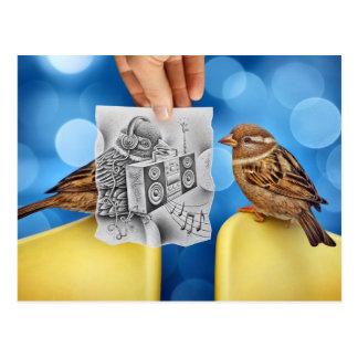 Postal Lápiz contra la cámara - electro pájaro