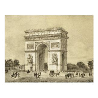Postal L'Arc de Triomphe, París, grabada por Auguste Bry