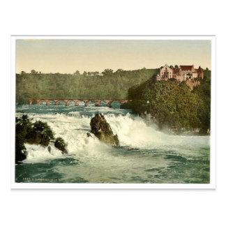 Postal Las caídas del Rin, con el castillo de Laufen, Sc