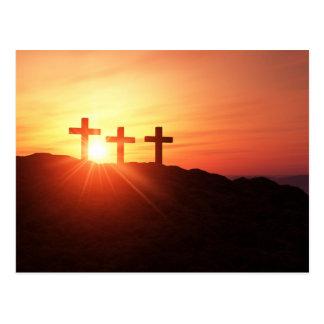 Postal Las cruces en la cumbre 3 a la caída del sol