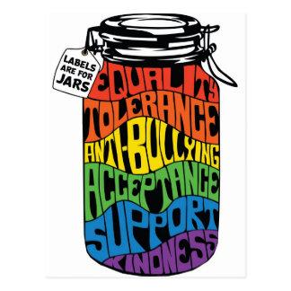 Postal Las etiquetas de la camisa de la igualdad de LGBT