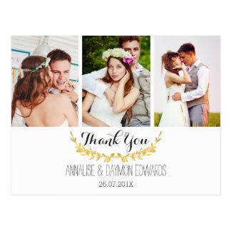 Postal Las falsas fotos del boda de la hoja de oro le