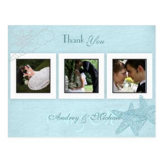 Postal Las fotos del boda de playa le agradecen las