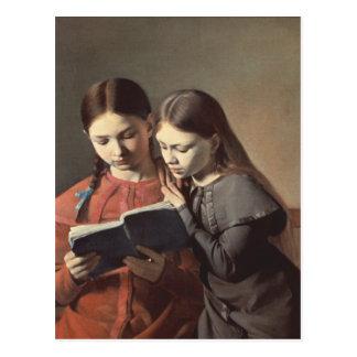Postal Las hermanas Signe y Enriqueta del artista