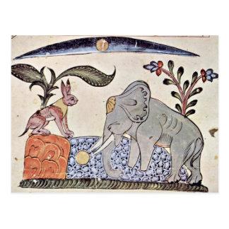 Postal Las liebres y el rey del elefante delante del MIR