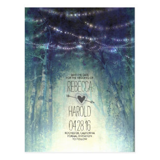 Postal Las luces de la secuencia del bosque de Enchated