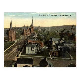 Postal Las siete iglesias, vintage de Jamestown NY c1915