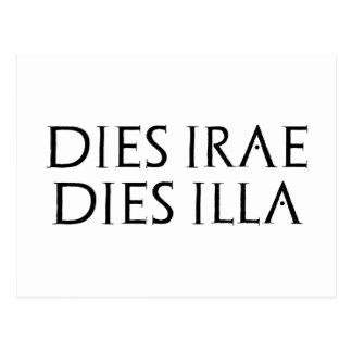 Postal latín de Latein del illa de los dados de Dies irae