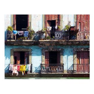 Postal Lavadero en balcones, Paseo del Prado, Cuba