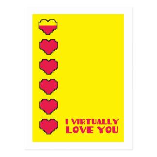 Postal Le amo virtualmente los corazones digitales