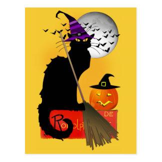 Postal Le Chat Noir - gato de la bruja de Halloween