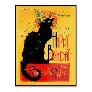 Postal Le Chat Noir - saludos del feliz cumpleaños