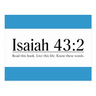 Postal Lea el 43:2 de Isaías de la biblia