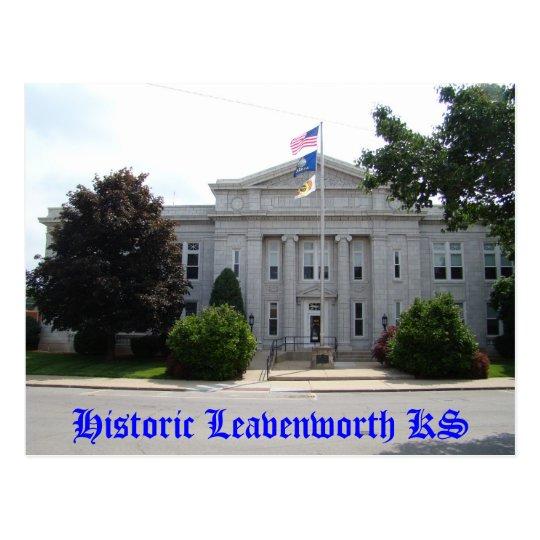 Postal Leavenworth histórico KS - ayuntamiento