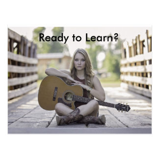 Postal Lecciones de la guitarra que hacen publicidad de
