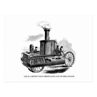 Postal Lee y coche de bomberos de Larned