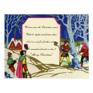 Postal Leña de Robin Hood del navidad del Victorian del