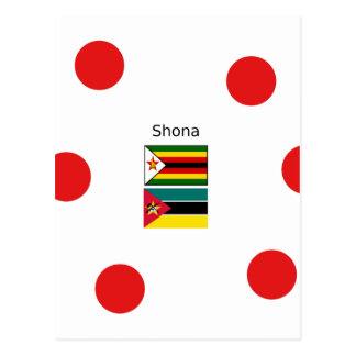 Postal Lengua de Shona y banderas de Zimbabwe y de