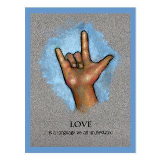 Postal Lengua del amor: Lenguaje de signos americano: