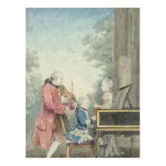 Postal Leopold Mozart y sus niños Wolfgang