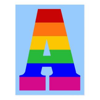Postal Letra A del arco iris