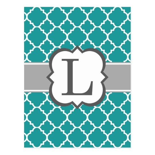 Postal Letra azul L Quatrefoil del monograma del trullo