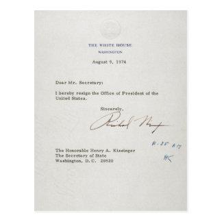 Postal Letra de la dimisión de Richard M. Nixon 1974
