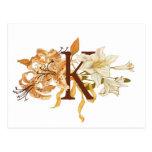 """Postal Letra floral sofisticada """"K """" del monograma"""