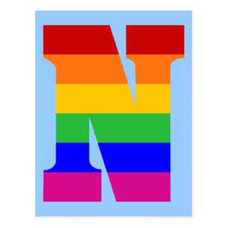 Postal Letra N del arco iris