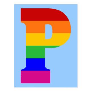 Postal Letra P del arco iris