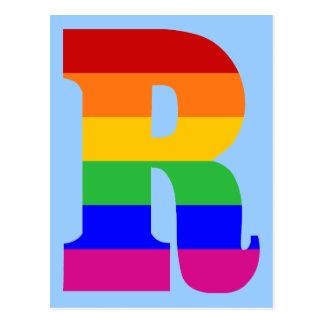 Postal Letra R del arco iris