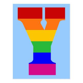 Postal Letra Y del arco iris