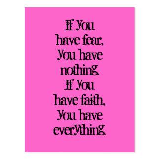 Postal Ley de pensamiento positiva de la fe y del miedo
