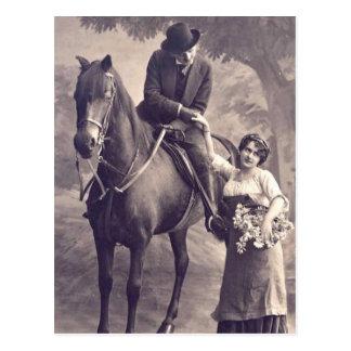 Postal Ligón del francés - caballo romántico del vintage