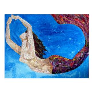 Postal Lilith - arte del collage de la sirena