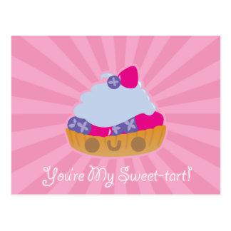 Postal linda de la tarta de Kawaii