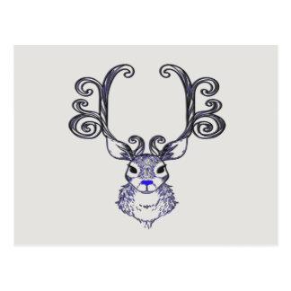 Postal linda de los ciervos del reno azul de la