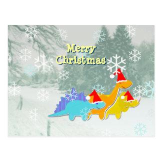 Postal linda de los dinosaurios del navidad