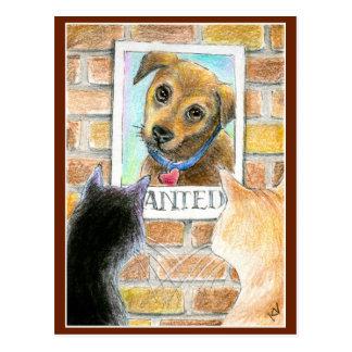 Postal linda del arte del perro y del gato de