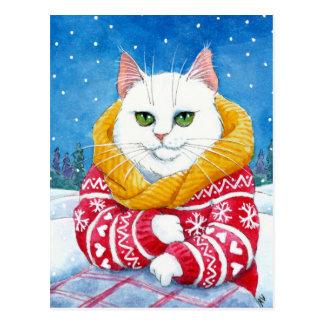Postal linda del Coon de Maine del navidad blanco